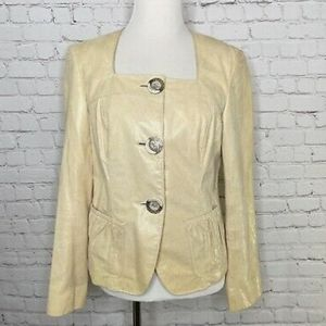 Lafayette 148 Ivory Leather Wood Button Jacket